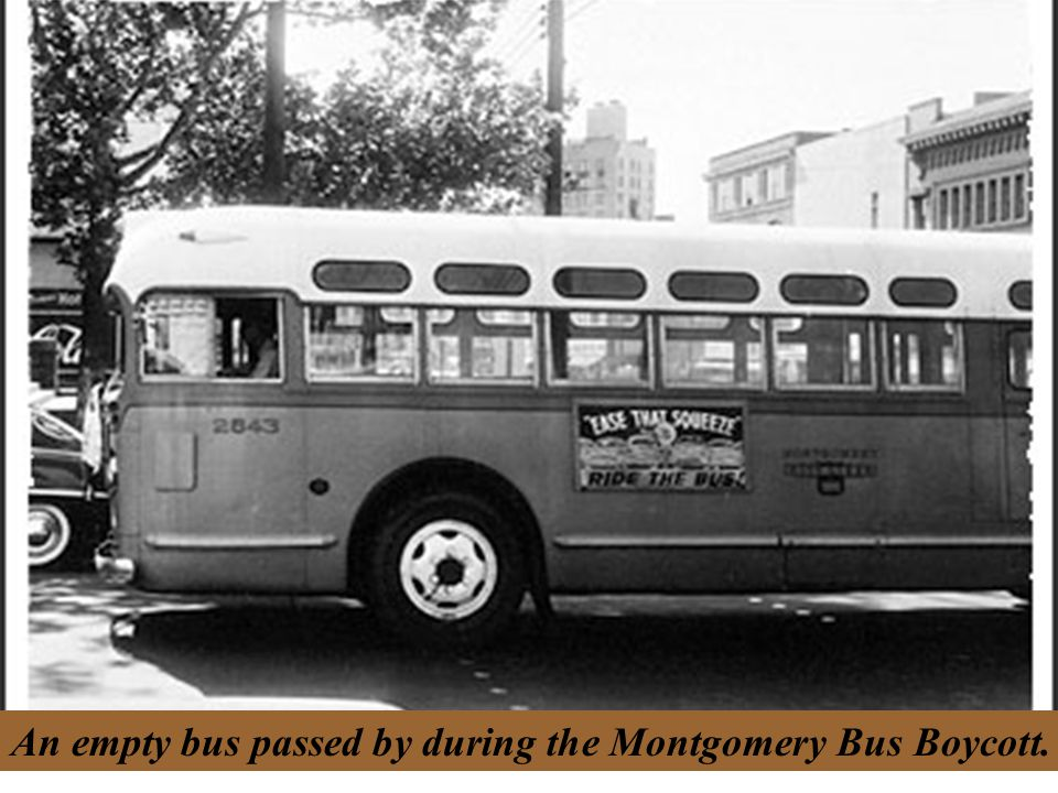 An empty bus passed by during the Montgomery Bus Boycott.