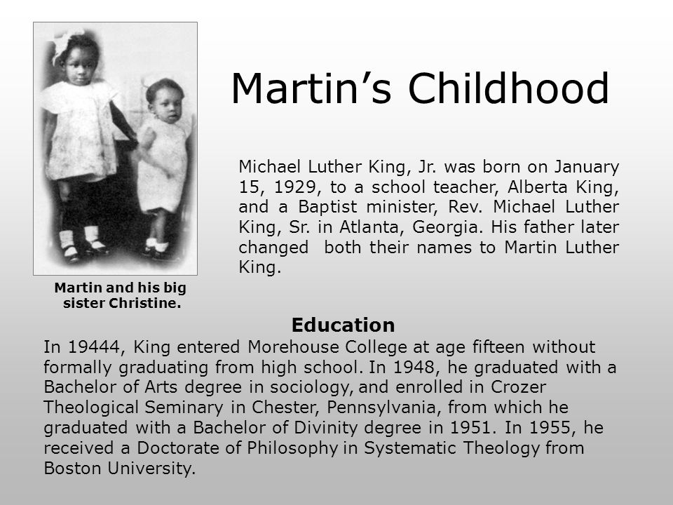 Martin's Childhood Education