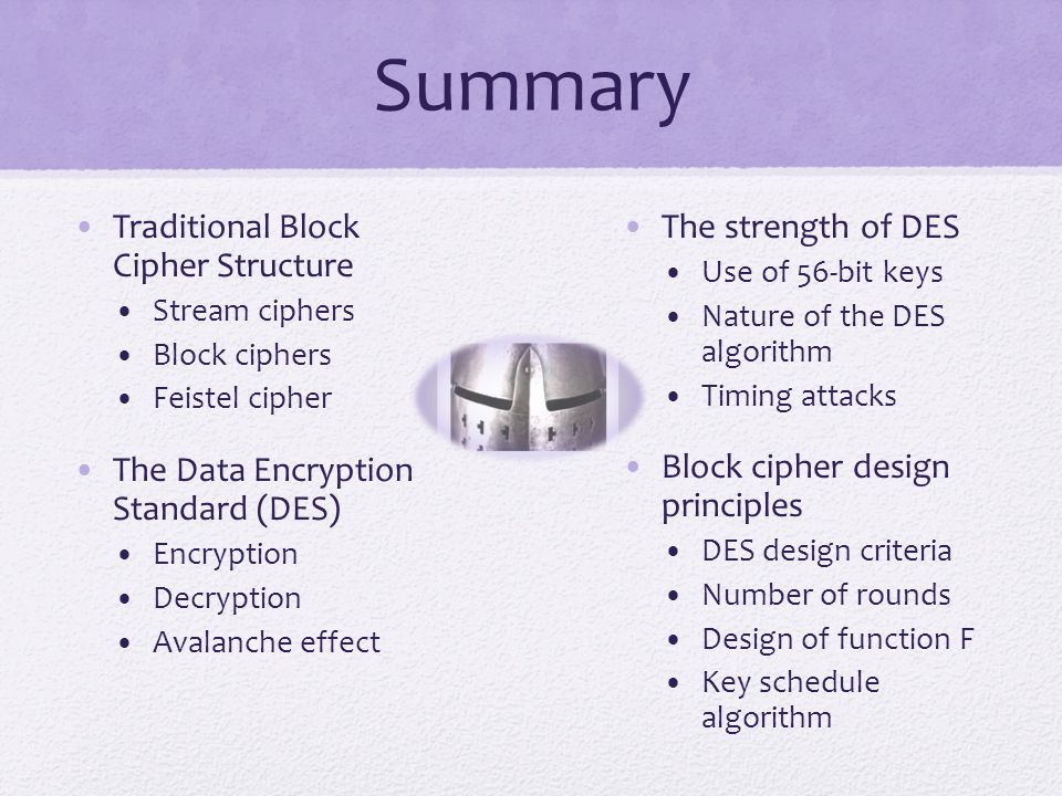 Summary Traditional Block Cipher Structure