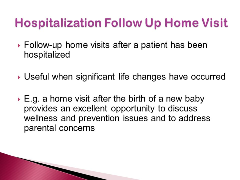 Hospitalization Follow Up Home Visit