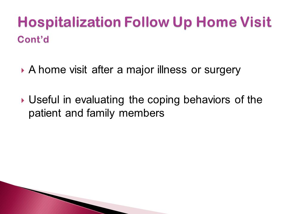 Hospitalization Follow Up Home Visit Cont'd