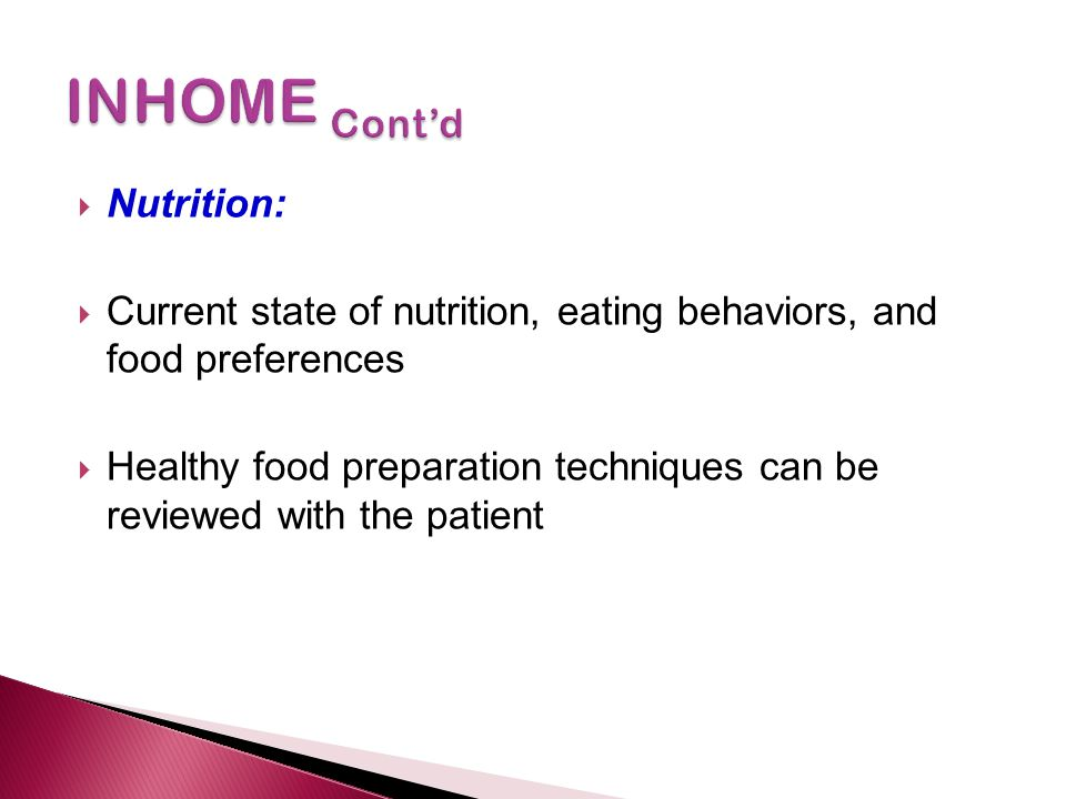 INHOME Cont'd Nutrition: