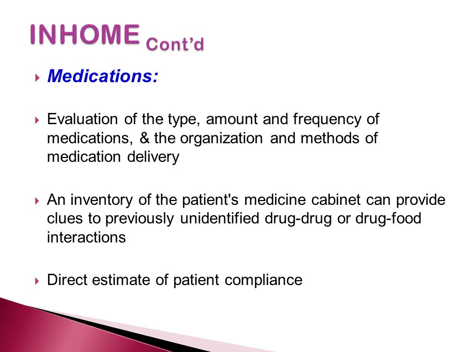 INHOME Cont'd Medications: