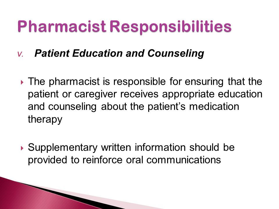 Pharmacist Responsibilities