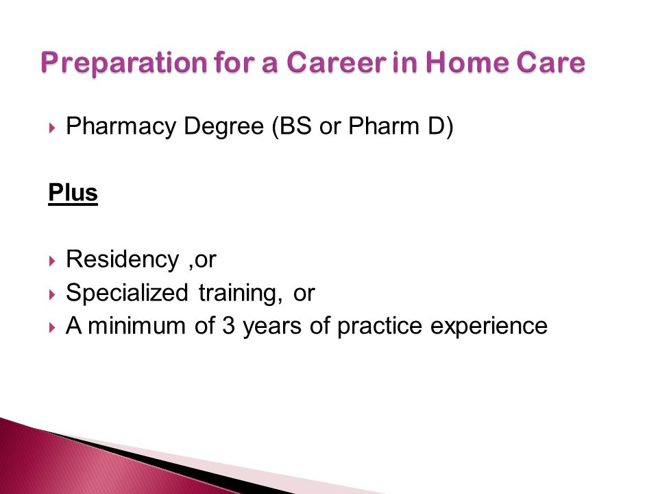 Preparation for a Career in Home Care