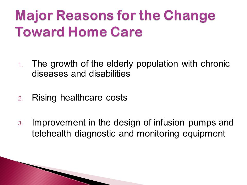 Major Reasons for the Change Toward Home Care