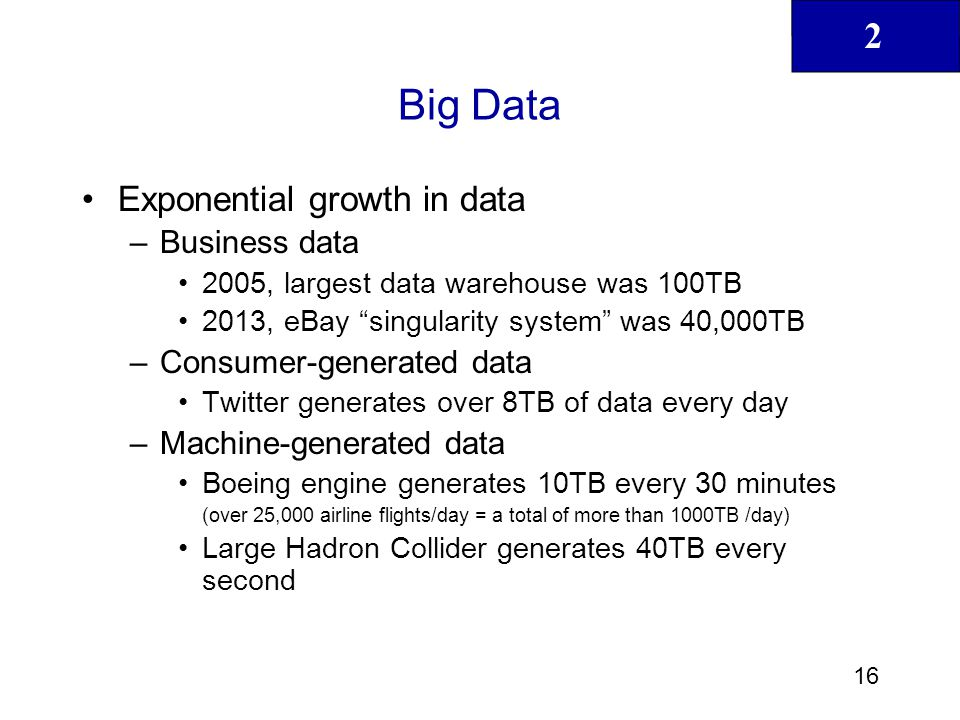 Big Data Exponential growth in data Business data