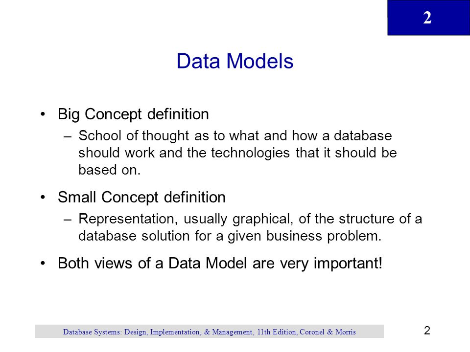 Data Models Big Concept definition Small Concept definition