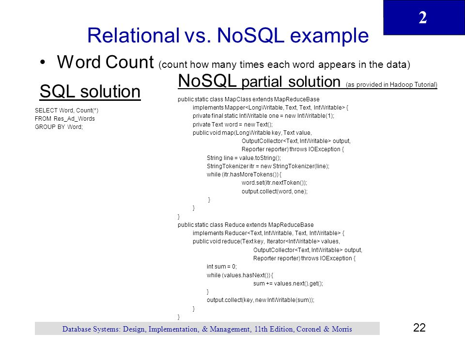 Relational vs. NoSQL example