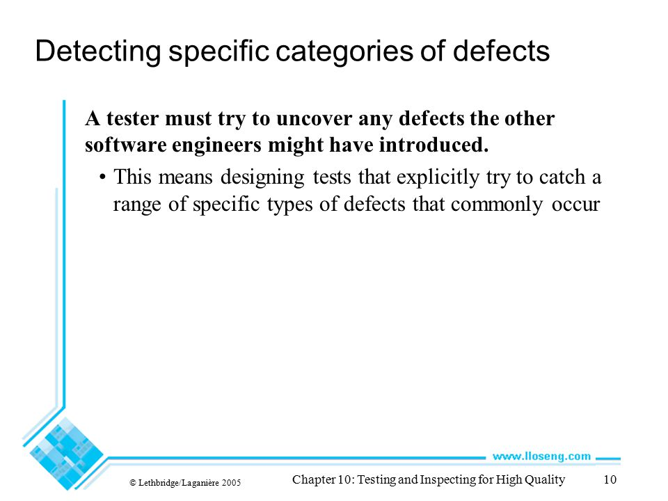 Detecting specific categories of defects