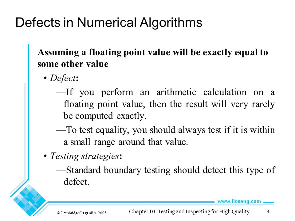 Defects in Numerical Algorithms