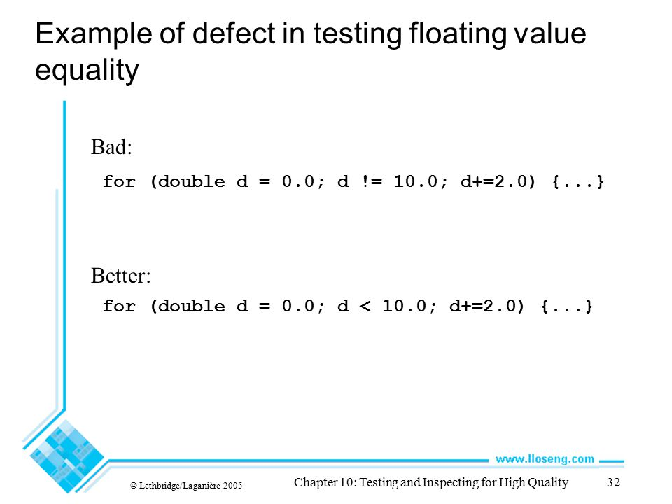 Example of defect in testing floating value equality