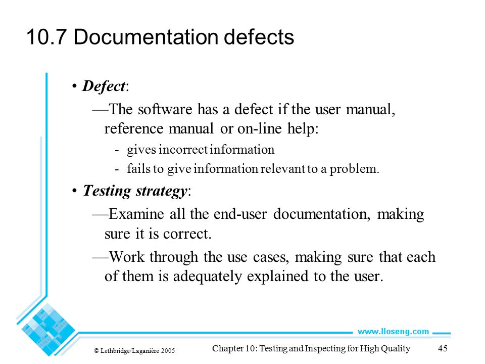 10.7 Documentation defects