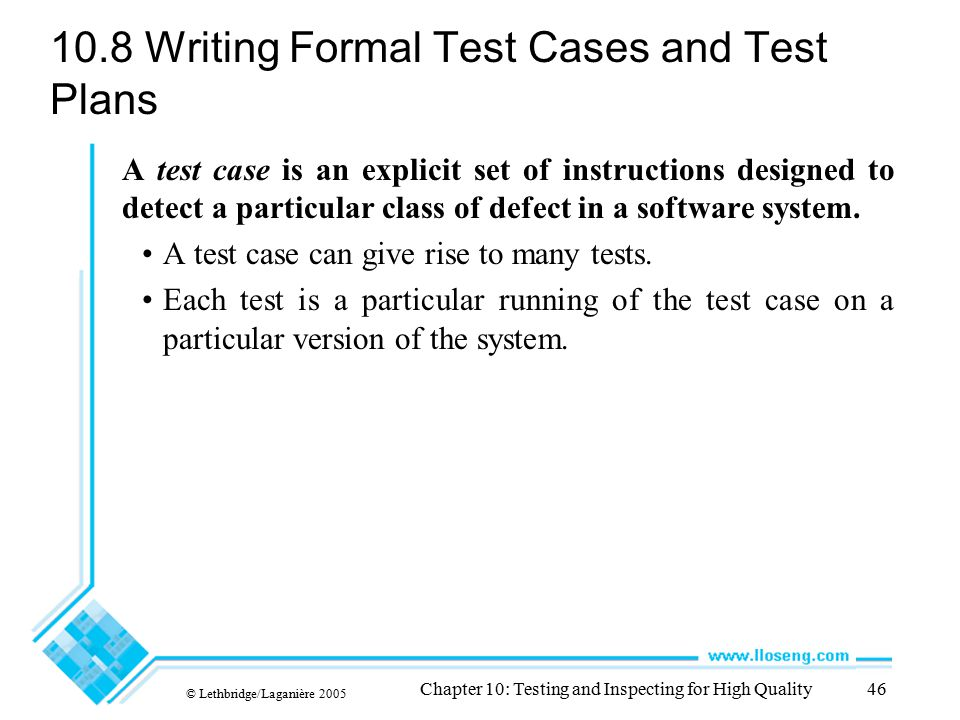 10.8 Writing Formal Test Cases and Test Plans
