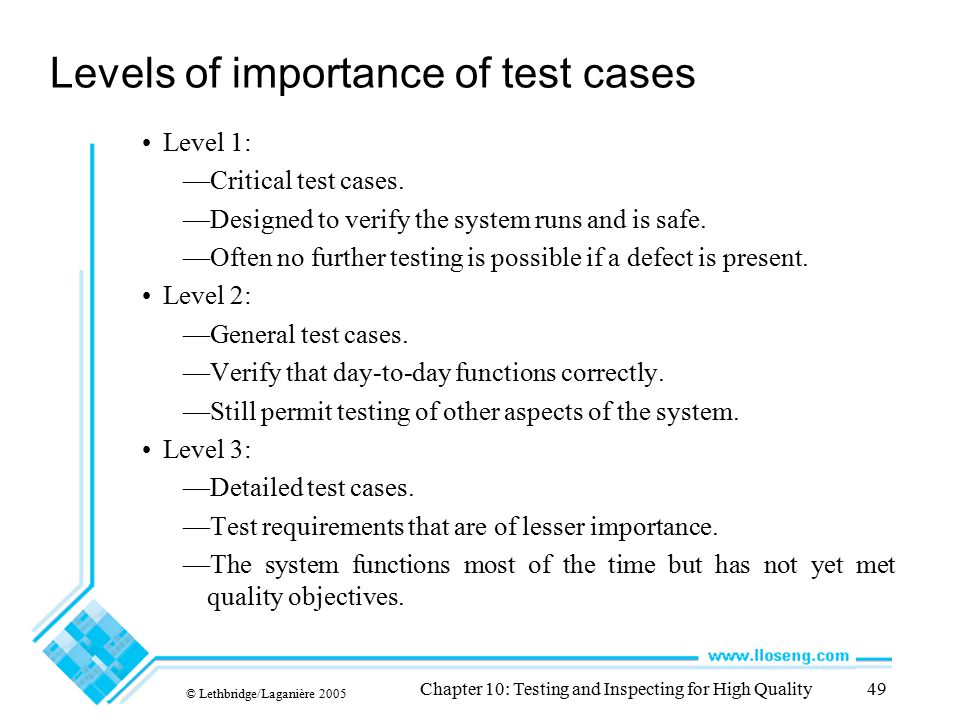 Levels of importance of test cases