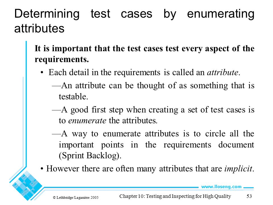 Determining test cases by enumerating attributes