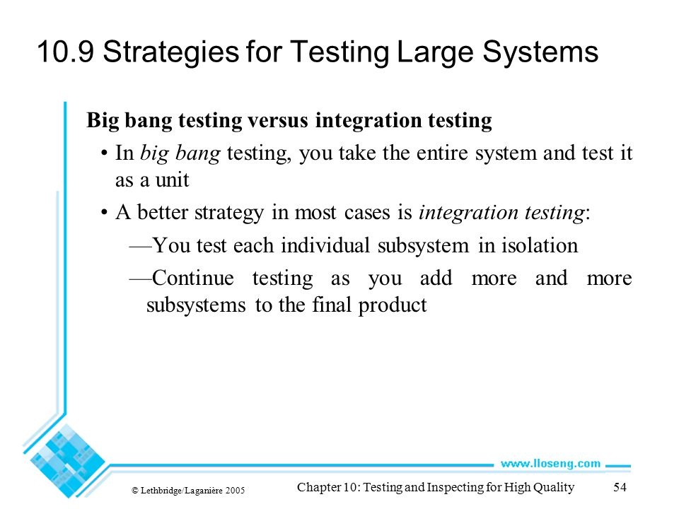 10.9 Strategies for Testing Large Systems
