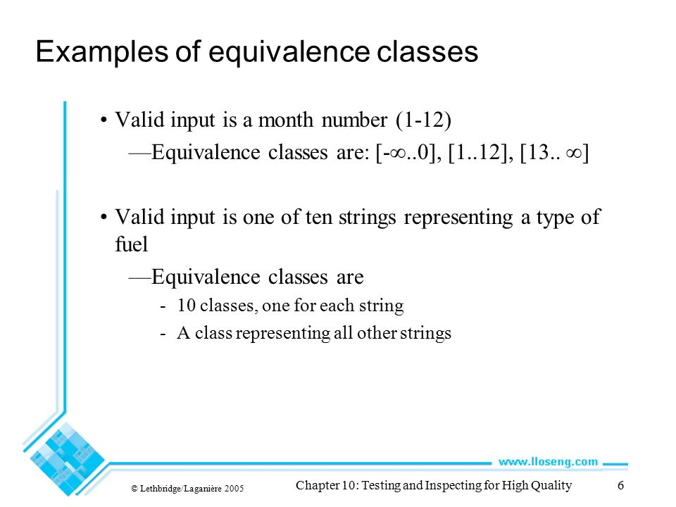 Examples of equivalence classes
