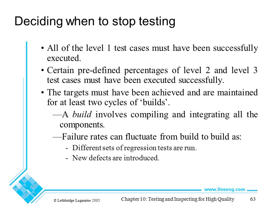 Deciding when to stop testing
