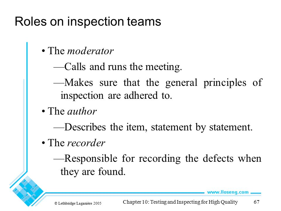 Roles on inspection teams