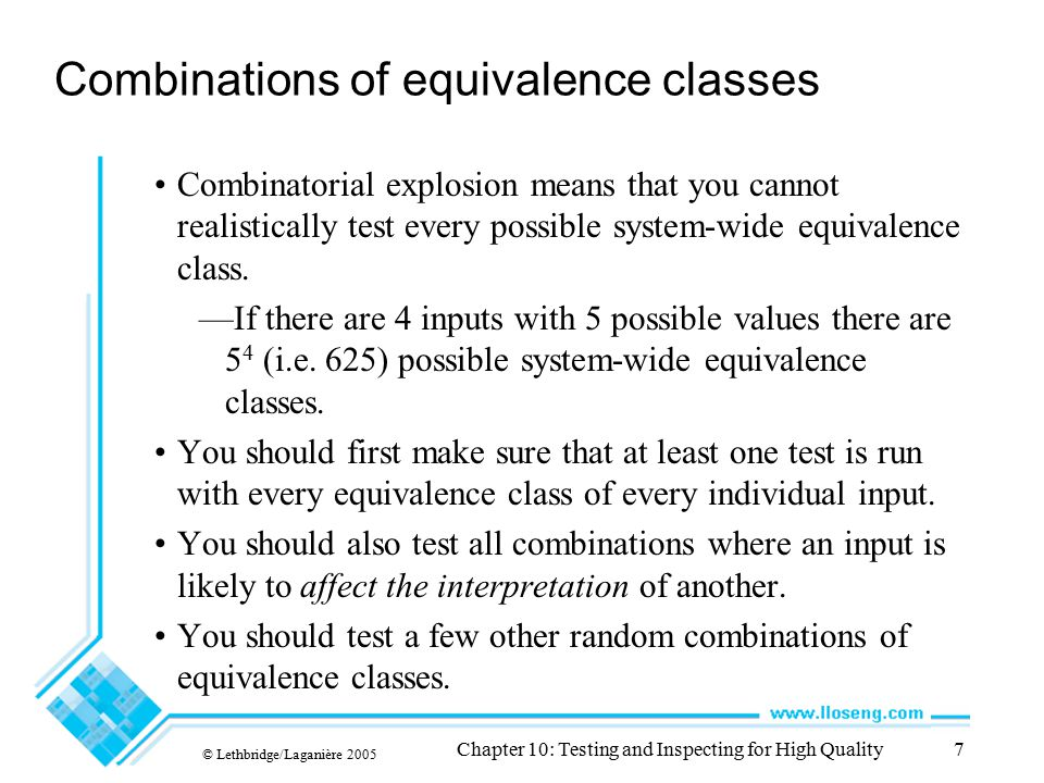 Combinations of equivalence classes