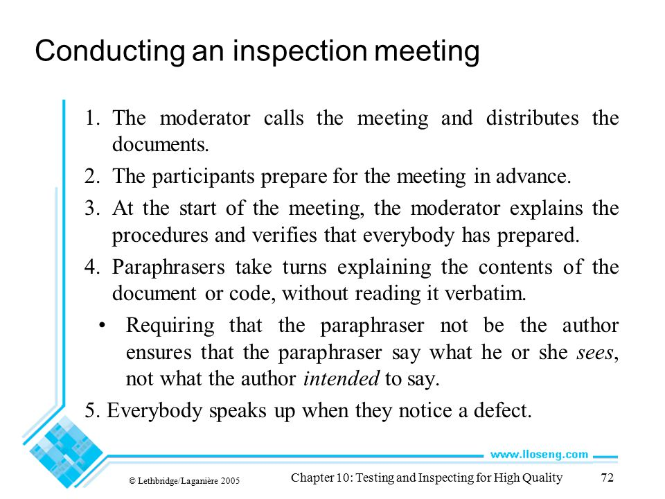 Conducting an inspection meeting