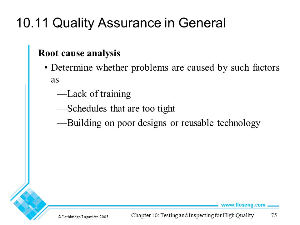 10.11 Quality Assurance in General