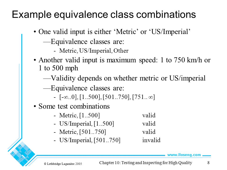 Example equivalence class combinations