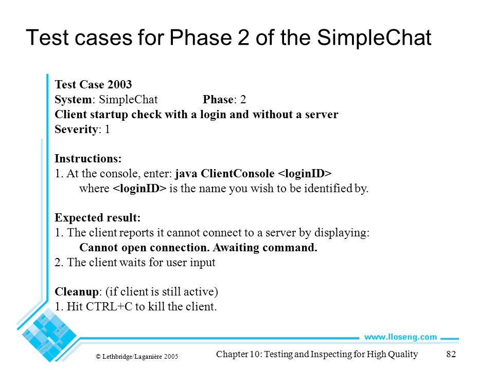 Test cases for Phase 2 of the SimpleChat