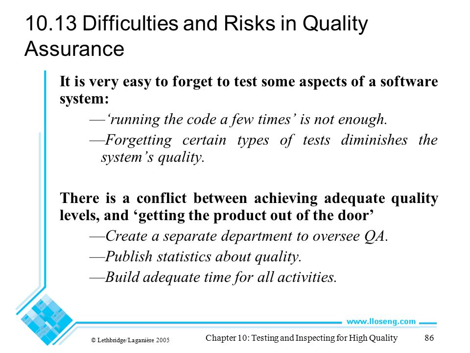 10.13 Difficulties and Risks in Quality Assurance