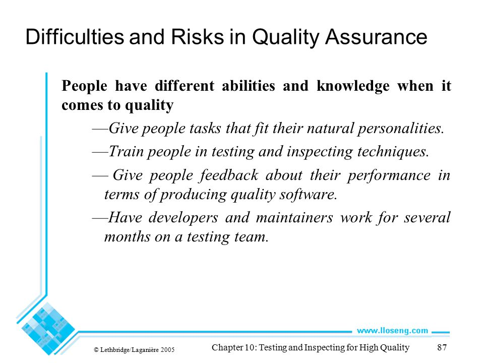 Difficulties and Risks in Quality Assurance