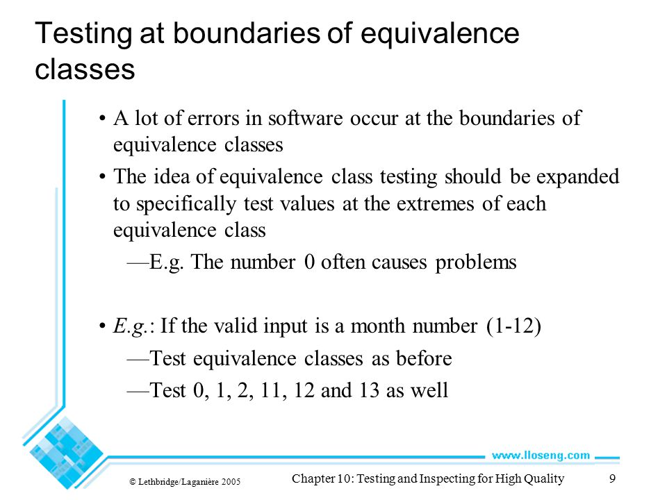 Testing at boundaries of equivalence classes