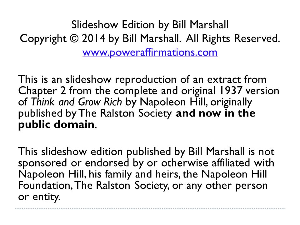Slideshow Edition by Bill Marshall Copyright © 2014 by Bill Marshall