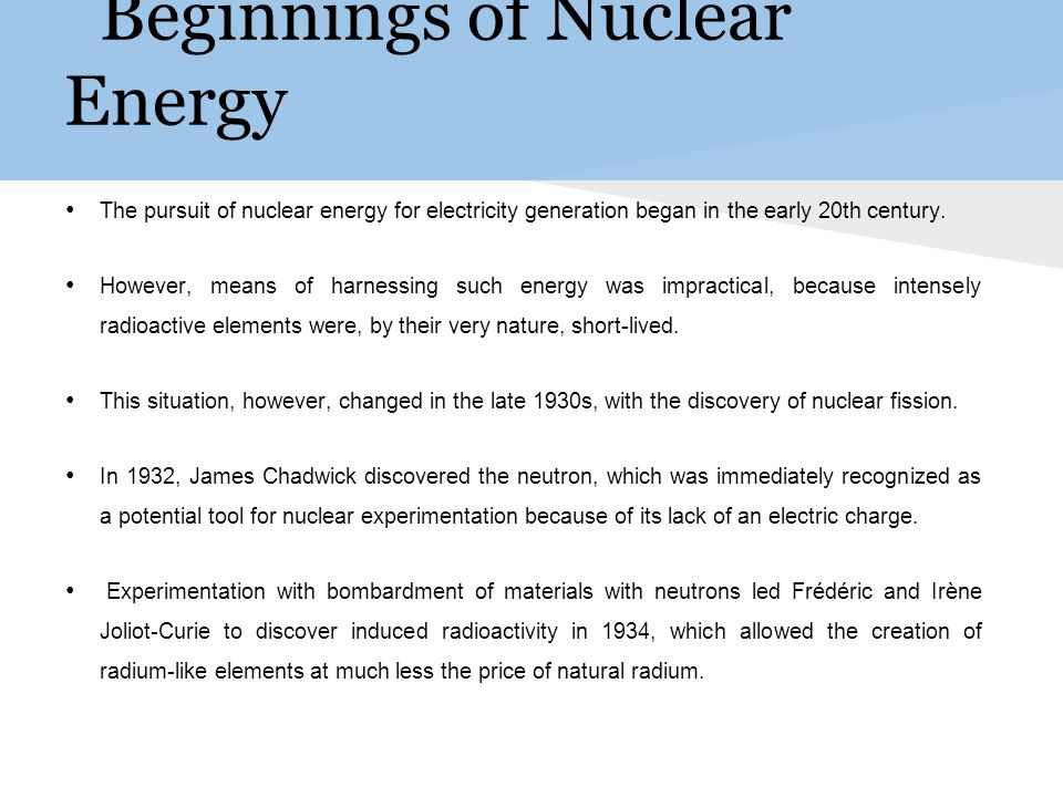 Beginnings of Nuclear Energy