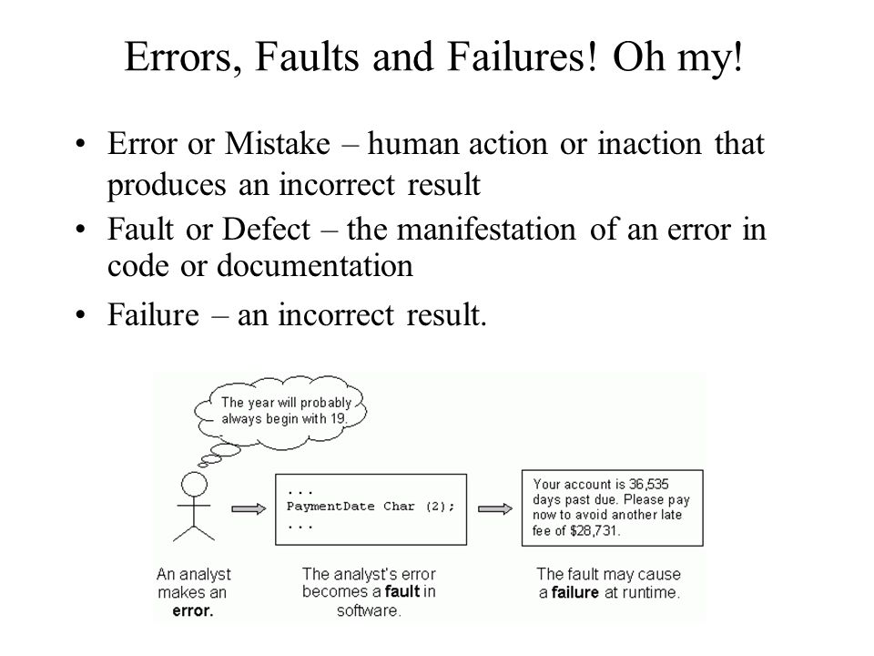 Errors, Faults and Failures! Oh my!