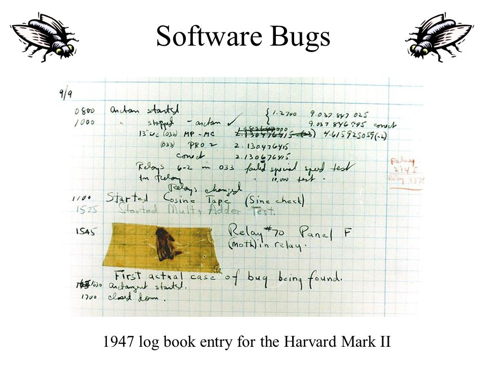 Software Bugs 1947 log book entry for the Harvard Mark II