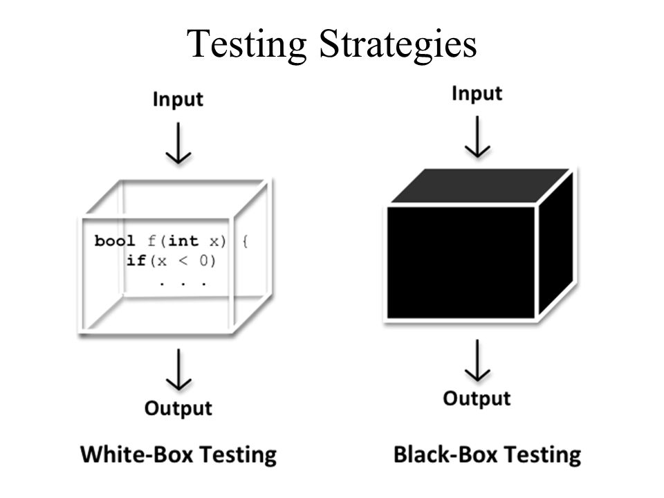 Testing Strategies White and black box testing are complementary.