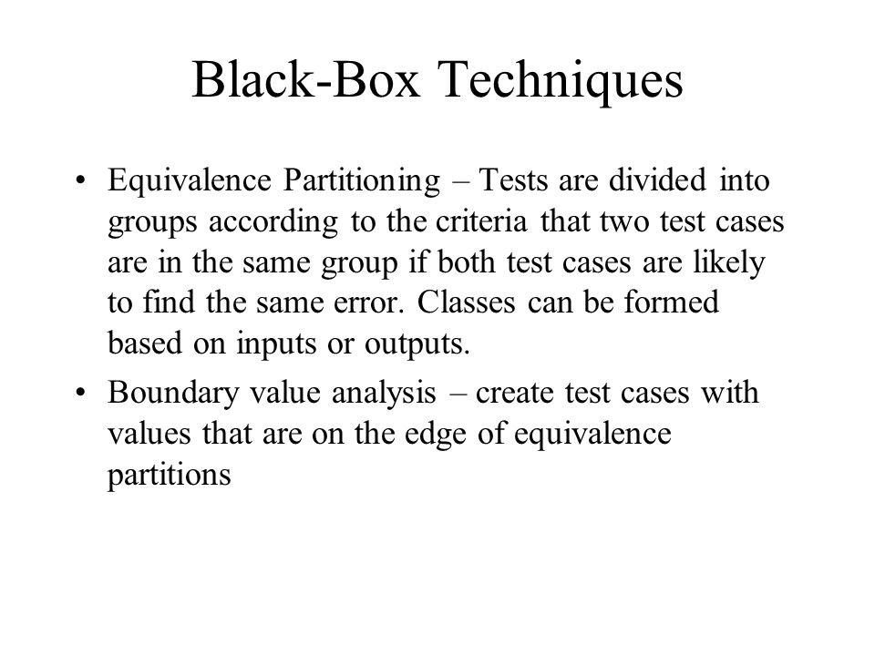Black-Box Techniques