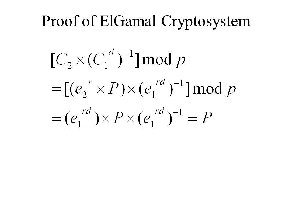 Proof of ElGamal Cryptosystem