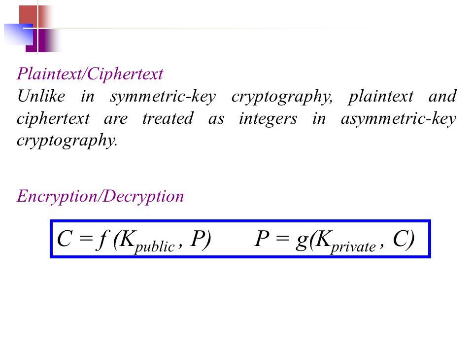 C = f (Kpublic , P) P = g(Kprivate , C)