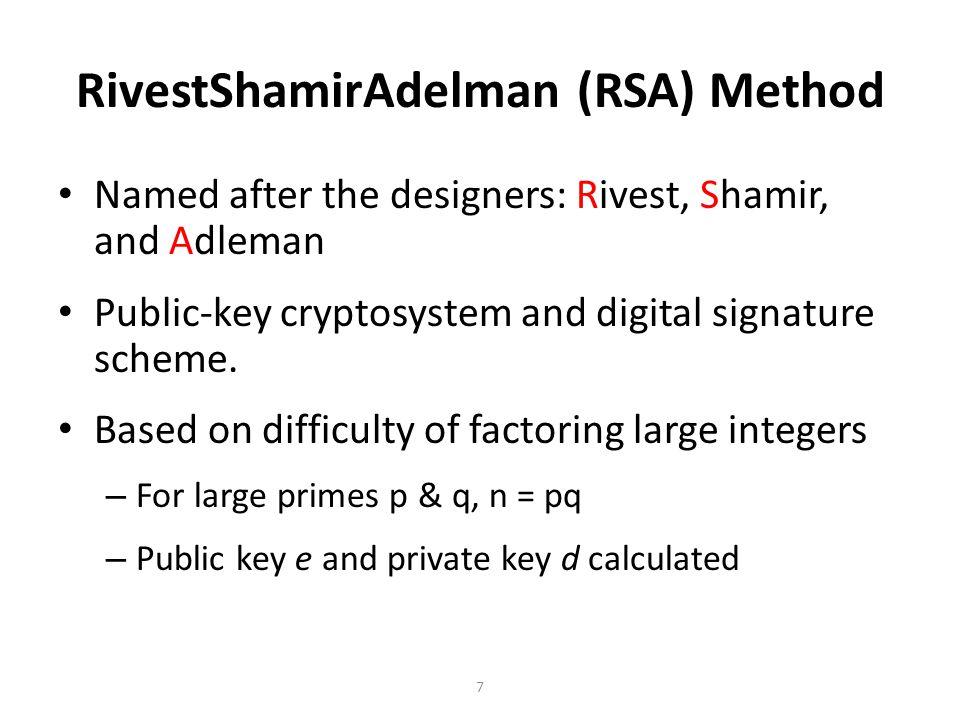 RivestShamirAdelman (RSA) Method