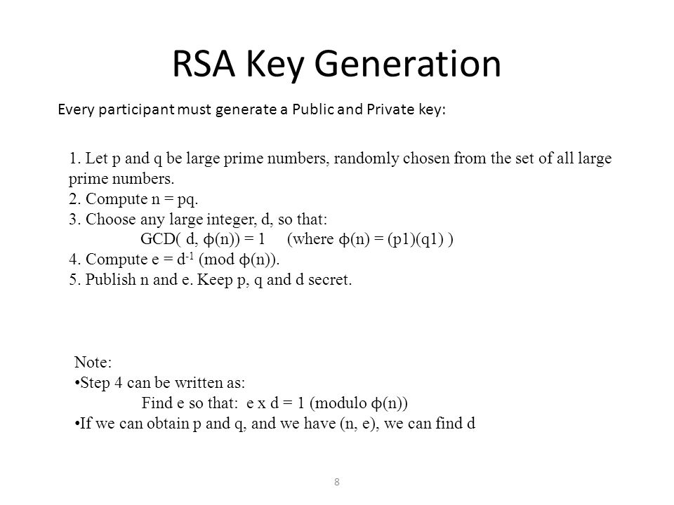 RSA Key Generation Every participant must generate a Public and Private key: