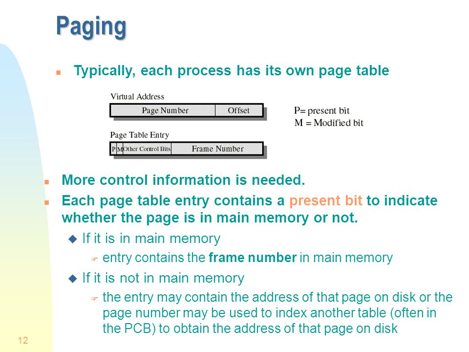 Paging Typically, each process has its own page table