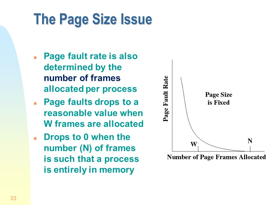 The Page Size Issue Page fault rate is also determined by the number of frames allocated per process.