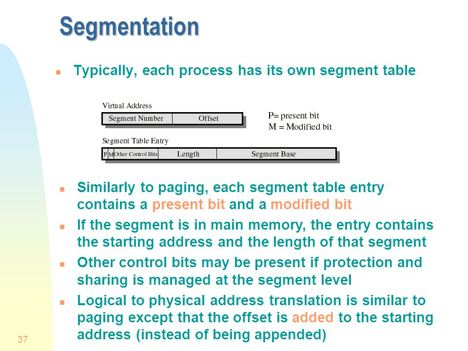 Segmentation Typically, each process has its own segment table