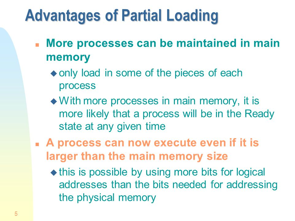 Advantages of Partial Loading
