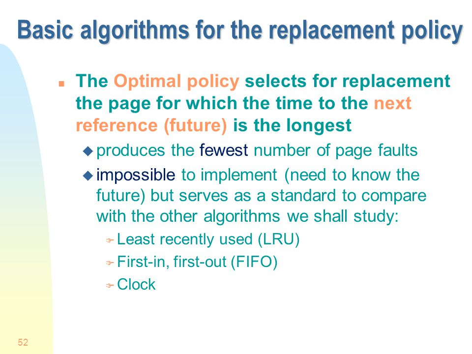 Basic algorithms for the replacement policy