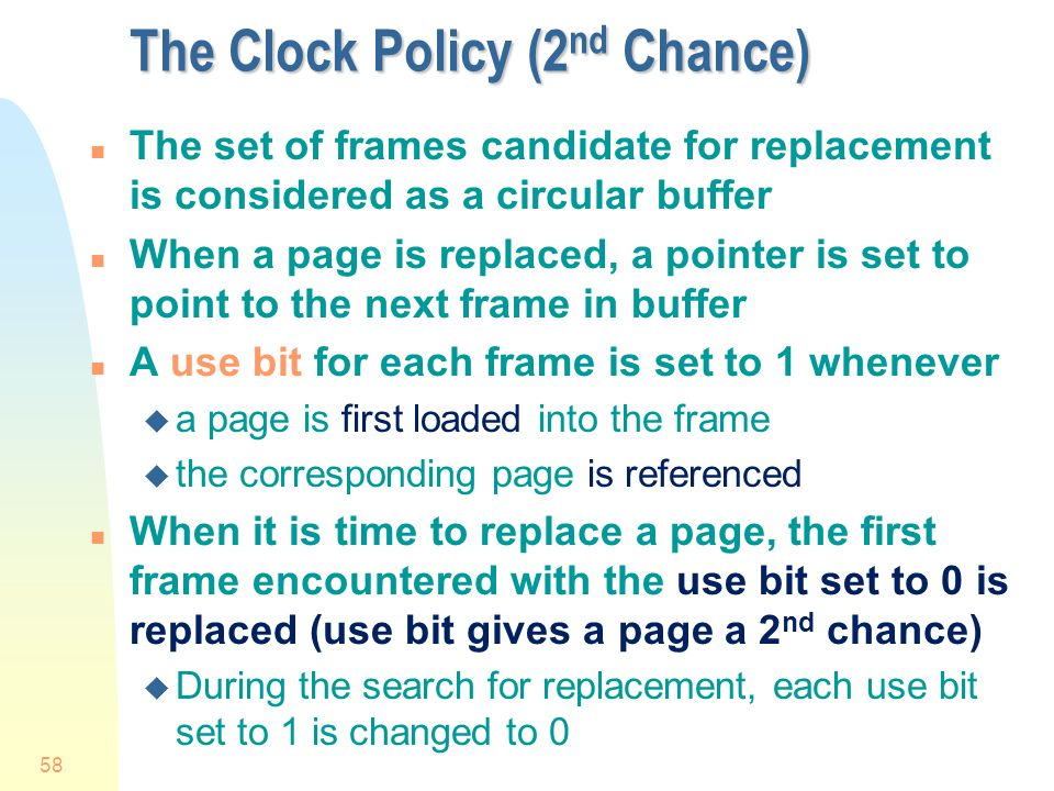 The Clock Policy (2nd Chance)