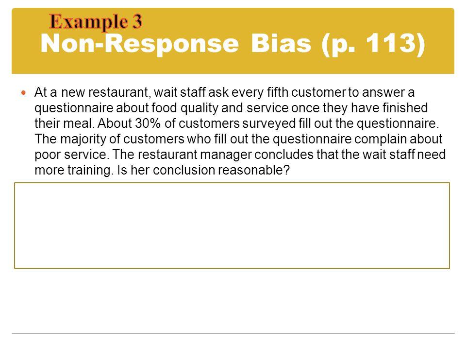 Non-Response Bias (p. 113) Example 3