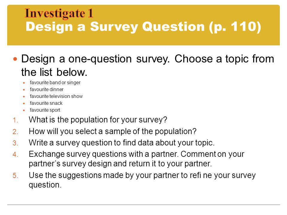 Design a Survey Question (p. 110)